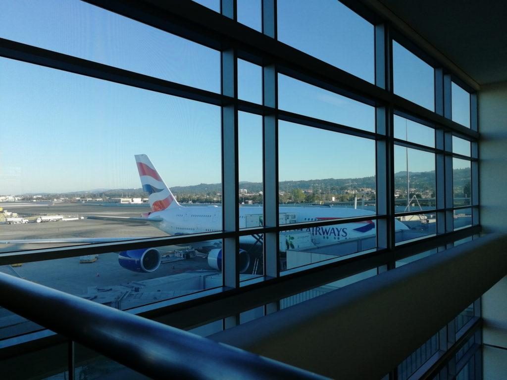 British Airways plane at terminal gate